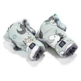 Nepremočljive rokavice za voziček - unicorn rainbow knight / grey