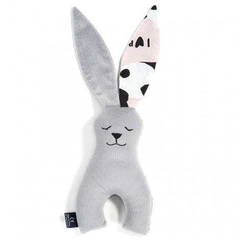 Plišasti zajček - velvet dark grey/ilovepanda pink