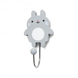 Kljukica obešalnik - mini zajček siv