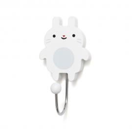 Kljukica obešalnik - mini zajček bel