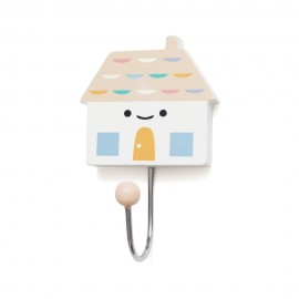 Kljukica obešalnik - roza hiška