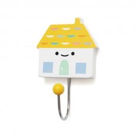 Kljukica obešalnik - rumena hiška