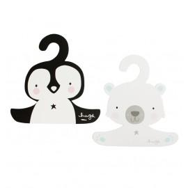 Obešalnička - polarni medvedek in pingvinček