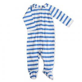 aden+anais pajac z dolgimi rokavi na zadrgo - modre črte