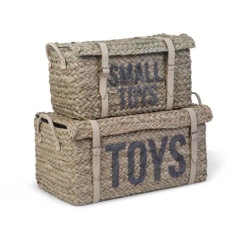Komplet 2 pletenih košar za igrače