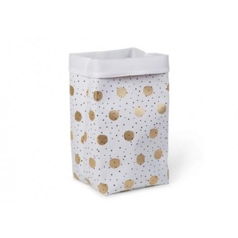 Koš za igrače White Gold Dots 60 x 32 x 32 cm