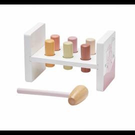 Lesena igračka s kladivom Edvin pink