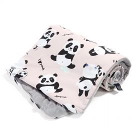 Dvostranska odeja velvet  (80x100cm) - I love panda/grey