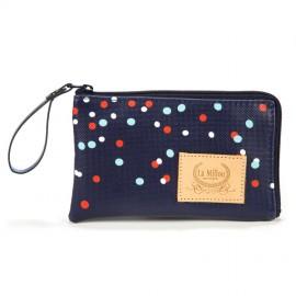 Mini torbica za mamico - modra s pikami
