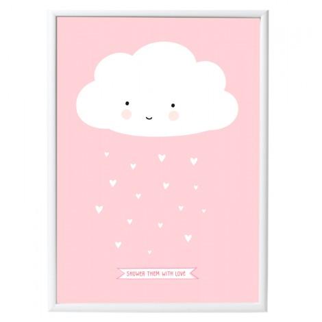 """Plakat: Oblaček z napisom """"Shower them with love"""" Pink"""